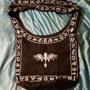 Cotton black shopping bag or purse